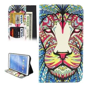 Colorful Cartoon Lion Pattern Horizontal Flip Leather Case with Holder & Card Slots & Wallet for Samsung Galaxy Tab 4 8.0 / T330