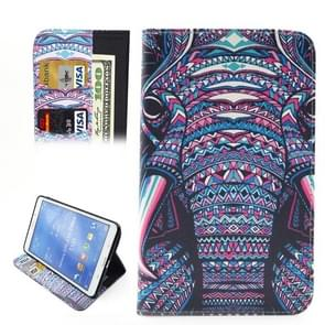 Ethnic Style Cartoon Elephant Pattern Horizontal Flip Leather Case with Holder & Card Slots & Wallet for Samsung Galaxy Tab 4 8.0 / T330