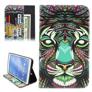 Ethnic Style Cartoon Lion Pattern Horizontal Flip Leather Case with Holder & Card Slots & Wallet for Samsung Galaxy Tab 4 8.0 / T330