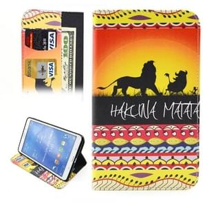 HAKUNA MATATA Pattern Horizontal Flip Leather Case with Holder & Card Slots & Wallet for Samsung Galaxy Tab 4 8.0 / T330