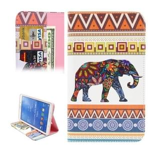 Flower Elephant & Geometry Pattern Horizontal Flip Leather Case with Holder & Card Slots & Wallet for Samsung Galaxy Tab 4 8.0 / T330