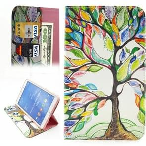 Colorful Tree Pattern Horizontal Flip Leather Case with Holder & Card Slots & Wallet for Samsung Galaxy Tab 4 8.0 / T330