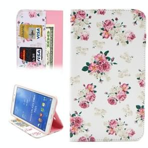 White background Chinese Rose Pattern Horizontal Flip Leather Case with Holder & Card Slots & Wallet for Samsung Galaxy Tab 4 8.0 / T330