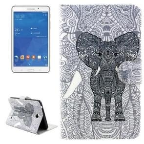 Line Elephant Pattern Horizontal Flip Leather Case with Holder & Card Slots & Wallet for Samsung Galaxy Tab 4 7.0 / T230