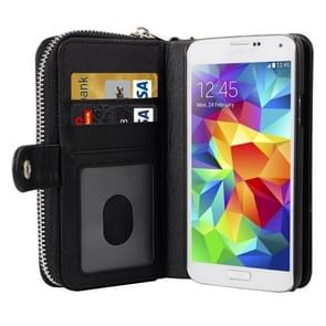 Multifunctional Separable Litchi Texture Solid Color Leather Case with Card Slots & Lanyard for Samsung Galaxy S5 / G900(Black)
