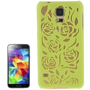 Hollow Out Rose Flowers Pattern Protective Hard Case for Samsung Galaxy S5(Green)