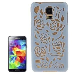 Hollow Out Rose Flowers Pattern Protective Hard Case for Samsung Galaxy S5(Blue)