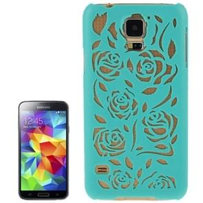 Hollow Out Rose Flowers Pattern Protective Hard Case for Samsung Galaxy S5 (Turquoise)