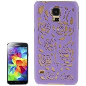 Hollow Out Rose Flowers Pattern Protective Hard Case for Samsung Galaxy S5(Purple)