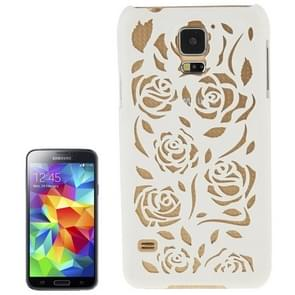 Hollow Out Rose Flowers Pattern Protective Hard Case for Samsung Galaxy S5(White)