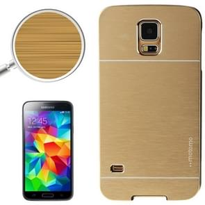 2 in 1 Brushed Texture Metal & Plastic Protective Case for Samsung Galaxy S5(Gold)