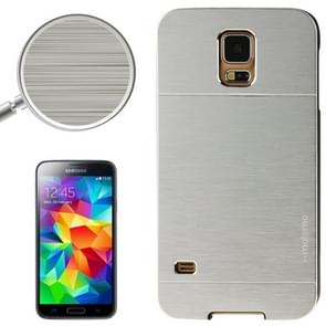 2 in 1 Brushed Texture Metal & Plastic Protective Case for Samsung Galaxy S5(Silver)