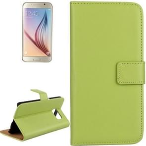 For Samsung Galaxy S6 / G920 Cowhide Split Leather Protective Case with Holder & Card Slots (Green)