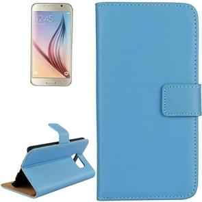 For Samsung Galaxy S6 / G920 Cowhide Split Leather Protective Case with Holder & Card Slots (Blue)