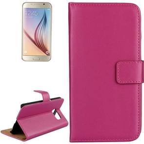 For Samsung Galaxy S6 / G920 Cowhide Split Leather Protective Case with Holder & Card Slots (Magenta)