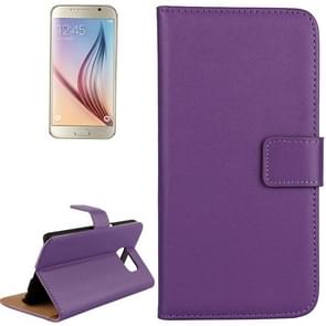 For Samsung Galaxy S6 / G920 Cowhide Split Leather Protective Case with Holder & Card Slots (Purple)