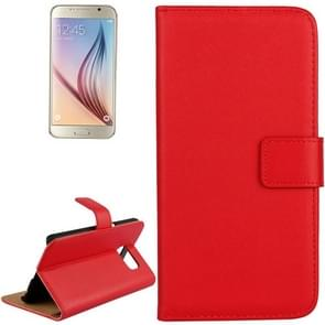 For Samsung Galaxy S6 / G920 Cowhide Split Leather Protective Case with Holder & Card Slots (Red)
