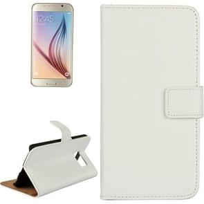 For Samsung Galaxy S6 / G920 Cowhide Split Leather Protective Case with Holder & Card Slots (White)