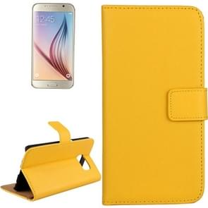 For Samsung Galaxy S6 / G920 Cowhide Split Leather Protective Case with Holder & Card Slots (Yellow)