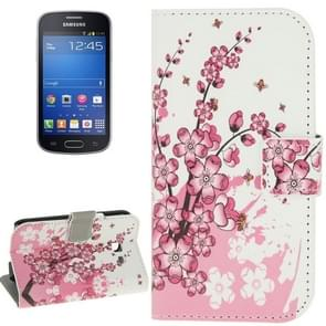 Plum Blossom Pattern Horizontal Flip Magnetic Buckle Leather Case with Card Slots & Wallet & Holder for Samsung Galaxy Trend Lite / S7390