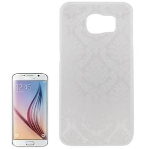 For Samsung Galaxy S6 / G920 Embossed Flowers Pattern Protective Hard Case (White)