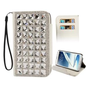 Crystal Diamond Encrusted Horizontal Flip Leather Case with Credit Card Slots & Holder for Samsung Galaxy Note II / N7100