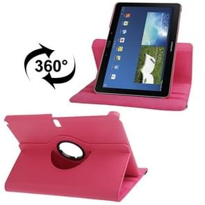 360 Degree Rotatable Litchi Texture Leather Case with 2-angle Viewing Holder for Samsung Galaxy Note 10.1 (2014 Edition) / P600, Magenta(Magenta)