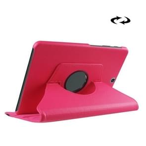 Litchi Texture 360 Degree Rotation Leather Case with Holder for Samsung Galaxy Tab S2 9.7 / T815 / T810(Magenta)