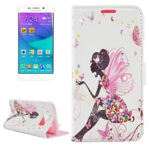 For Samsung Galaxy S6 Edge / G9250 Girl with wings & Rhinestone Pattern Leather Case with Holder & Wallet