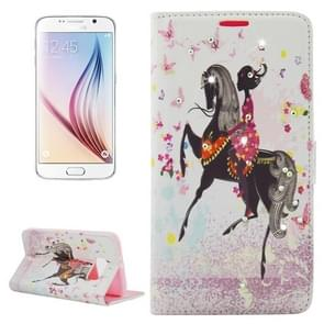 For Samsung Galaxy S6 / G920 Riding Girl with wings & Rhinestone Pattern Leather Case with Holder & Wallet