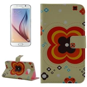 For Samsung Galaxy S6 / G920 Flower Pattern Leather Case with Holder & Wallet