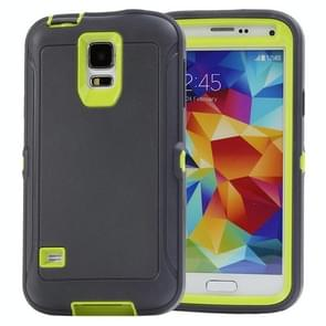 Shockproof TPU + Plastic Combination Case for Samsung Galaxy S5 / G900 (Dark Grey + Green)