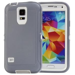 Shockproof TPU + Plastic Combination Case for Samsung Galaxy S5 / G900 (Grey + White)(Grey)