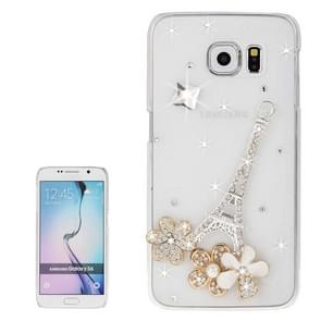 For Samsung Galaxy S6 / G920 Transparent Diamond Encrusted Flower Pattern Protective Case