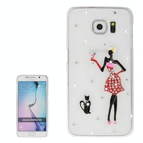 For Samsung Galaxy S6 / G920 Transparent Diamond Encrusted Fashion Lady and Cats Pattern Protective Case