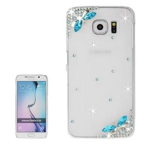 For Samsung Galaxy S6 / G920 Transparent Diamond Encrusted Blue Butterflies Pattern Protective Case