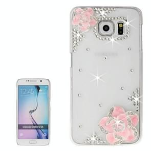 For Samsung Galaxy S6 / G920 Transparent Diamond Encrusted Rose Pattern Protective Case