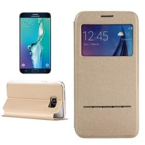 For Samsung Galaxy S6 Edge+ / G928 Solid Color Horizontal Flip Leather Case with Holder & Caller ID Window (Gold)