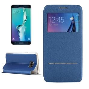 For Samsung Galaxy S6 Edge+ / G928 Solid Color Horizontal Flip Leather Case with Holder & Caller ID Window (Blue)