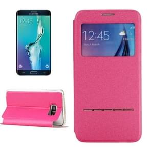 For Samsung Galaxy S6 Edge+ / G928 Solid Color Horizontal Flip Leather Case with Holder & Caller ID Window (Magenta)