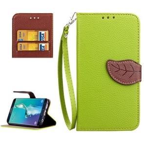 Voor Samsung Galaxy S6 Edge + / G928 Leaf Magnetic Snap Litchi structuur horizontaal Flip lederen hoesje met opbergruimte voor pinpassen & houder & portemonnee & Lanyard(groen)