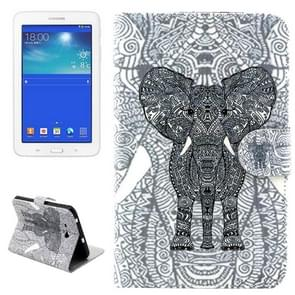 Line Elephant Pattern Horizontal Flip Leather Case with Holder & Card Slots & Wallet for Samsung Galaxy Tab 3 Lite 7.0 / T110