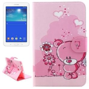 Little Bear Pattern Horizontal Flip Leather Case with Holder & Card Slots & Wallet for Samsung Galaxy Tab 3 Lite 7.0 / T110