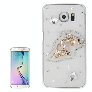 For Samsung Galaxy S6 Edge / G925 Transparent Diamond Encrusted Fishes Pattern Protective Case