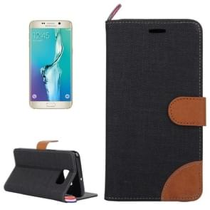 For Samsung Galaxy S6 edge+ / G928 Denim Surface Horizontal Flip Leather Case with Card Slots & Holder (Black)