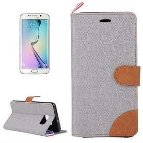 For Samsung Galaxy S6 edge / G925 Denim Surface Horizontal Flip Leather Case with Card Slots & Holder (Grey)