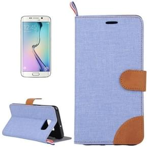 For Samsung Galaxy S6 edge / G925 Denim Surface Horizontal Flip Leather Case with Card Slots & Holder (Blue)