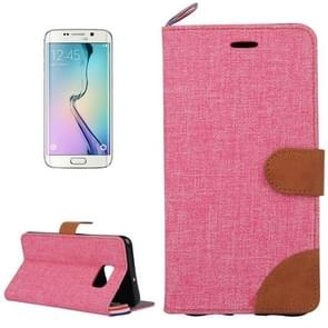 For Samsung Galaxy S6 edge / G925 Denim Surface Horizontal Flip Leather Case with Card Slots & Holder (Red)