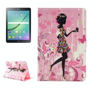 Colorful Girl Pattern Diamond Encrusted Horizontal Flip Leather Case with Holder for Samsung Galaxy Tab S2 9.7 / T815 / T810