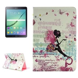 Butterfly Fairy Pattern Diamond Encrusted Horizontal Flip Leather Case with Holder for Samsung Galaxy Tab S2 9.7 / T815 / T810